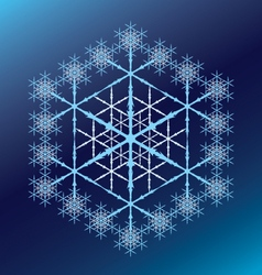 Blue six-pointed snowflake on a blue gradient vector
