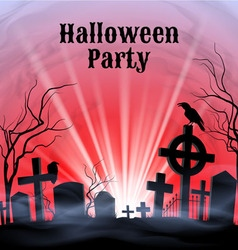 Halloween party on a spooky graveyard vector