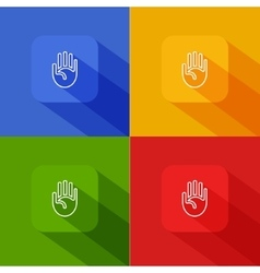 Hand palm icon with long shadow vector