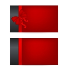 Black gift cards with red ribbons vector