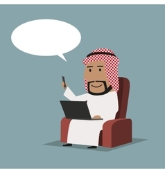 Arab businessman with laptop and smartphone vector image