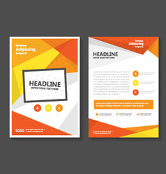 Orange annual report leaflet brochure set vector