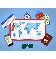 Paper map of world passport airplane ticket vector