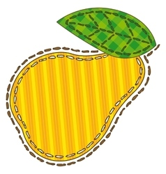 Isolated patchwork yellow pear vector