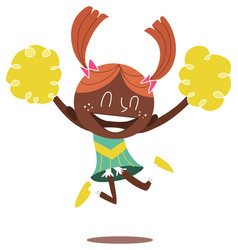A young smiling cheerleader jumping and cheering vector