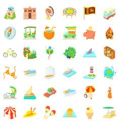 Adventure icons set cartoon style vector