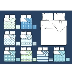 Bedding mockup and sample seamless patterns vector image vector image