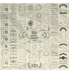 Big Set of Decorative Hand Drawn Design vector image vector image