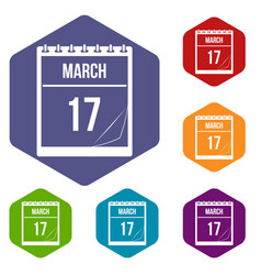 Calendar with date of march 17 icons set hexagon vector