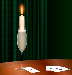 candlewine and cards vector image vector image