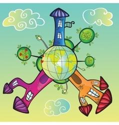 Cartoon world vector image