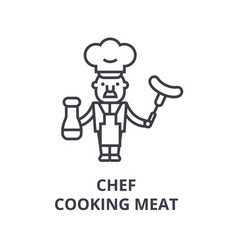 Chef cooking line icon outline sign linea vector