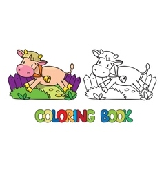 Coloring book of little funny cow or calf vector