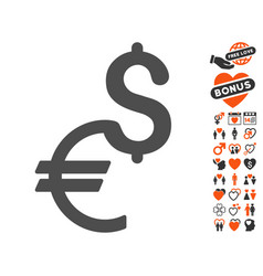 currency icon with valentine bonus vector image vector image