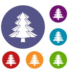 Fir tree icons set vector