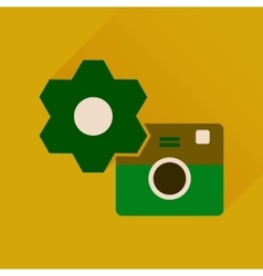Flat icon with long shadow camera settings vector image vector image