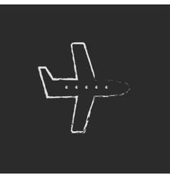 Flying airplane icon drawn in chalk vector image