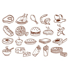 food related icon set vector image vector image