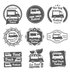 Food truck festival vintage emblems and logos vector