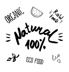 hand drawn healthy food brush lettering vector image vector image