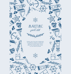 hand drawn maritime poster vector image