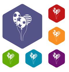 holiday balls icons set vector image