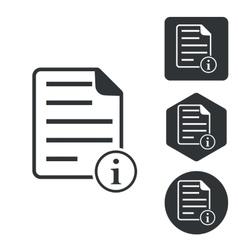 Information document icon set monochrome vector