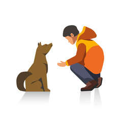 Man in jacket and dog cartoon characters isolated vector