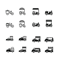 Mobile food bicycle and car icons vector