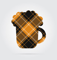 orange black tartan isolated icon beer with foam vector image vector image