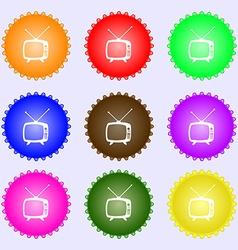 Retro tv mode sign icon television set symbol a vector