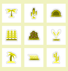 set of labels with shadow flat icon plants vector image