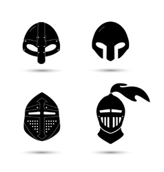 set of monochrome knight helmets isolated vector image