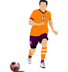 Soccer player in orange uniforms colored for vector