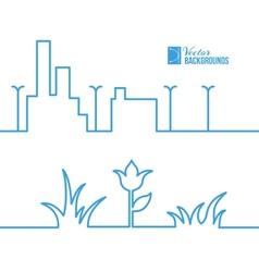 Spring line city scene vector image
