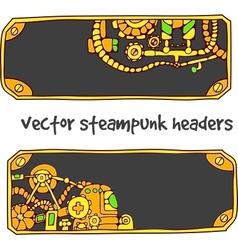 Steampunk headers vector