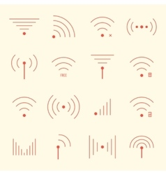 thin red wifi icons on yellow background vector image