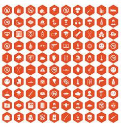 100 tension icons hexagon orange vector