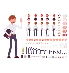 Male clerk character creation set vector image