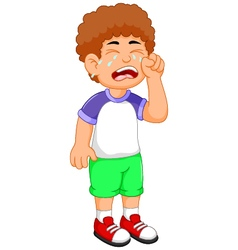 Cute little boy cartoon crying vector