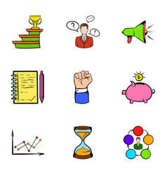 Investing icons set cartoon style vector