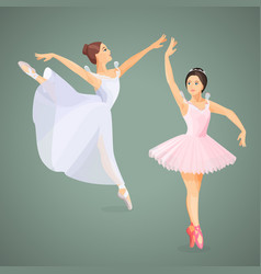 three young ballet dancers standing in pose flat vector image