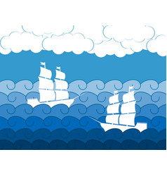 Ships on the waves sailing medieval ship vector