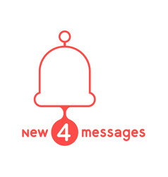 Red bell with new messages vector