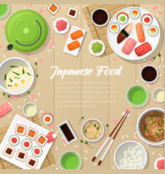 Japanese cuisine traditional food with sushi vector
