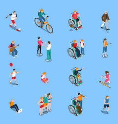 Disabled persons isometric set vector
