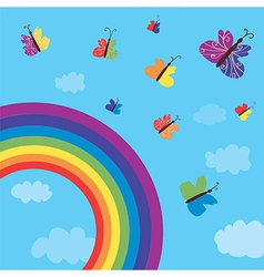 Rainbow and butterflies background vector