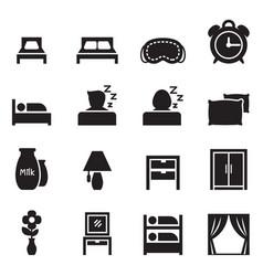 Bedroom accessories icons set vector