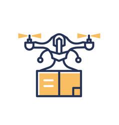 Delivery drone - modern line design single vector