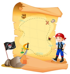 A treasure map with a young pirate vector